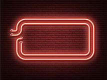 Red neon luminous signboard on realistic bricklaying wall. Stock Photos