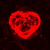 Red neon plasma laser heart on dark background. Neon red laser heart made from circles on dark background. Hot heart from bubbles in the dark Stock Photography