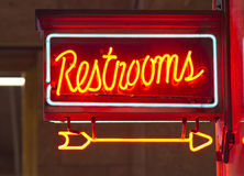Red Neon Restrooms Sign Indoor Signage Arrow Pointing Royalty Free Stock Image