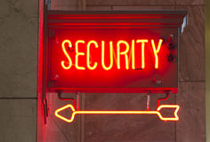 Red Neon Security Sign Indoor Signage Arrow Pointing Royalty Free Stock Photo