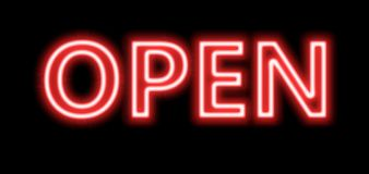 Neon red open sign. A red Neon sign which says open sign in blue with fluorescent light A neon open sign glowing blue in the window of a restaurant Stock Photo