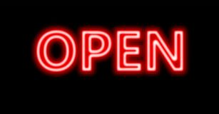 Neon red open sign Stock Photos