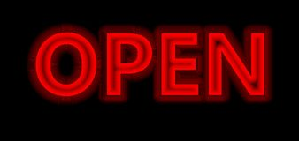 Neon red open sign Stock Image