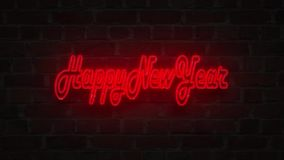 Red Neon signboard happy new year lighting up against a Brick wall stock illustration