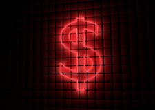 Red neon symbol of dollar Stock Image
