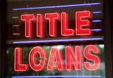 Red Neon Title Loan Sign Royalty Free Stock Photos
