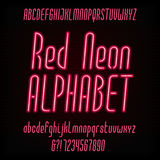 Red neon typeface. Modern oblique alphabet. Stock Images