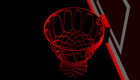 RED net of a basketball hoop on various material and background, 3d render. Sports background, basketball hoop net Stock Images