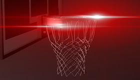 Red net of a basketball hoop on various material and background, 3d render. Sports background, basketball hoop net Royalty Free Stock Image