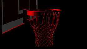 Red net of a basketball hoop on various material and background, 3d render. Sports background, basketball hoop net Royalty Free Stock Photography