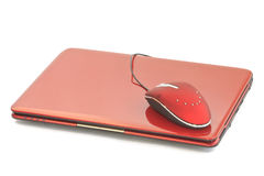 Red netbook Stock Photo