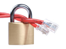 Red network cable on lock Stock Photography
