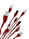 Red network cables Royalty Free Stock Photo