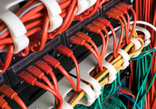 Red network cables connected to switch Royalty Free Stock Photography