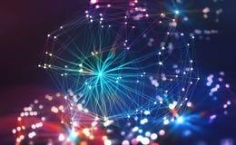 Red neuronal artificial Concepto grande de los datos Inteligencia artificial en la tecnología del futuro ejemplo 3D de un polígon ilustración del vector