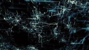 Red neuronal artificial Nodos electrónicos azules en ciberespacio electrónico ilustración del vector