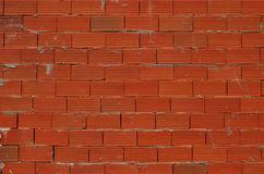 Red new bricks wall. Red new bricks non-plastered wall as background stock photo