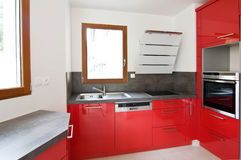 Red new modern kitchen Royalty Free Stock Photos