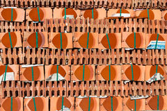 RED NEW ROOF TILES. Stack of new roof tiles Stock Images