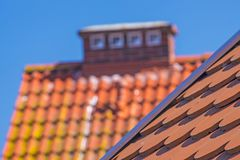 Red, new roofs tiles of a roof Royalty Free Stock Photos