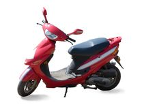 Red new scooter on  white Royalty Free Stock Photography