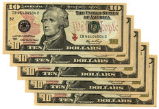 Red new ten dollars isolated, savings wealth, many. Heap of red new different grunge (grungy) colourful money (american dollars savings in different banknote stock photography
