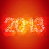 Red New Year 2013 Card. Hand-Drawn Christmas 2013 Numbers with Orange Bokeh Stock Photos