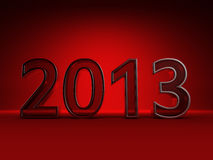 Red new year 2013. Isolated on red Royalty Free Stock Photos