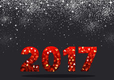 Red 2017 New Year background. Black 2017 New Year background with red figures. Vector illustration Stock Photos