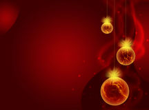 Red New Year background with Christmas balls Stock Photos