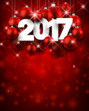 Red 2017 New Year background. Red 2017 New Year background with Christmas balls. Vector illustration Royalty Free Stock Photos