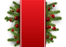 Festive background with Christmas balls. Red New Year background with fir branches and Christmas balls. Vector illustration Royalty Free Stock Images