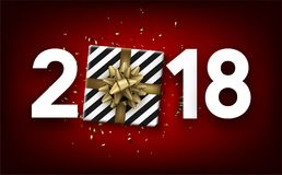 2018 new year background with gift. Red 2018 new year background with gift and gold serpentine. Vector top view illustration.r Stock Photo