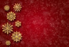 Red New Year background with gold Christmas-tree toys. Golden snowflakes. Red New Year background with gold Christmas-tree toys. Golden snowflakes stock images