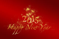 Red new year 2015 background with golden letters. Red happy new year 2015 background with golden letters, stars, lights, ornaments Stock Image