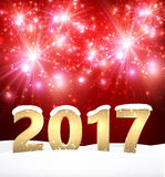 Red 2017 New Year background. Red 2017 New Year shining background with snow. Vector illustration Stock Photography