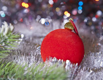 Red New Year ball , small depth of sharpness Royalty Free Stock Photography