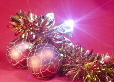 Red New Year balls and ribbon Royalty Free Stock Photo