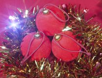 Red New Year balls and ribbon Royalty Free Stock Photography