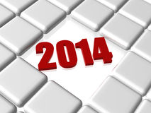 Red new year 2014 in boxes Stock Photos