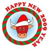 Red new year bull. Vector sticker: Little red new year bull in red Santa hat royalty free illustration