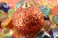 Red new year (christmas) balls with stones set, holiday invitation card Stock Images