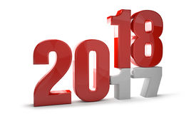 2018 red new year concept 3D Render. Illustration Stock Image