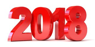 Red New Year 2018. Conceptual illustration. Isolated on white background. 3d render Stock Images
