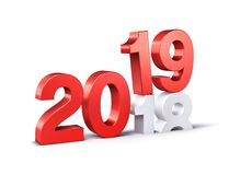 Red 2019 New Year beginning symbol. Red New Year date number 2019 above 2018, isolated on white - 3D illustration stock illustration