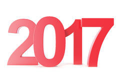 Red new year 2017 Isolated on white background. 3d rendering Stock Photos