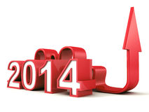Red 2014 new year numbers with growing concept arrow Royalty Free Stock Photos