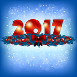 Red New Year 2017 numbers and Xmas decoration. An editable vector illustration of 2017 New Year numbers and Xmas decoration Royalty Free Stock Photos
