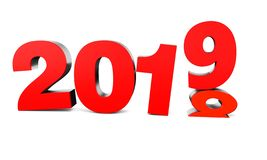 Red New Year 2019 and past Year 2018 stock illustration