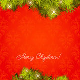 Red new Year's background. Red background with a New Year tree. A vector Stock Image